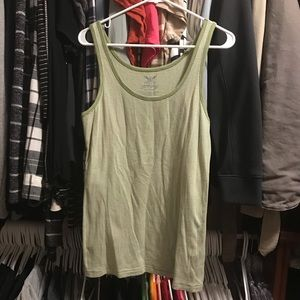 Sage Green & White Striped Tank Top Summer